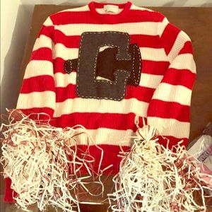 Size large sweater and 2 homemade pompoms